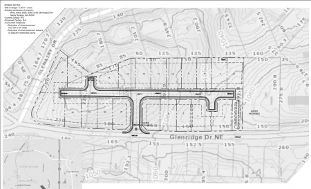 The conceptual plan of Betancourt Communities' 20-home plan for Glenridge Drive, from a city filing.