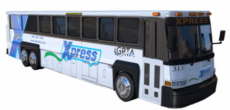 A Georgia Regional Transportation Authority Xpress bus like those that operate across the top end Perimeter, as pictured on the GRTA website.