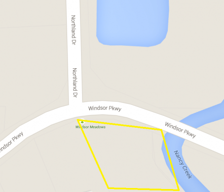 A Google Earths map of the general area of the proposed Windsor Meadows Park.