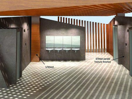 A rendering of the interior of the proposed Brookhaven parks restroom design. (GreenbergFarrow)