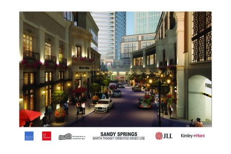 A rendering of a commercial streetfront within the 1117 Perimeter Center West redevelopment. The existing hexagonal office building is shown to the left with a heavily modified facade.