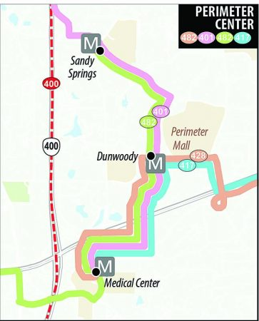 A GRTA map showing the Perimeter Center part of the new Route 401 Xpress bus line.