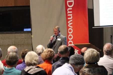 Dunwoody Mayor Denis Shortal at his first town hall meeting in January.