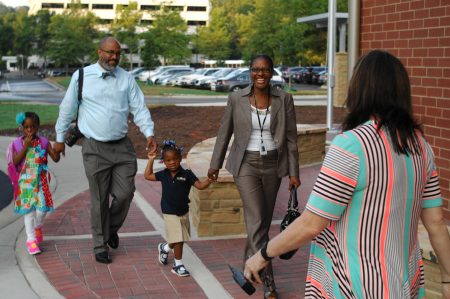 Opening day at Fulton County's Heards Ferry Elementary School last year. (Phil Mosier)