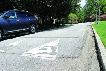 This speed hump on Oglethorpe Drive is one of many traffic calming devices available to the city. (Photo Dyana Bagby)