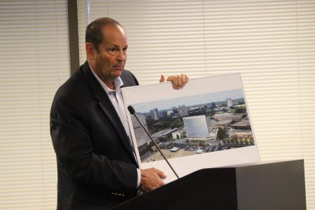Trent Germano of Transwestern makes the pitch for his company's proposed tower next to the Dunwoody MARTA Station. (Photo Dyana Bagby)