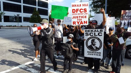 The ATL Silent Protest marching on Lenox Road Sept. 24. (Photo John Ruch)