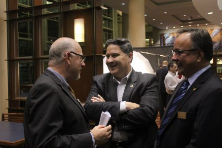 from left, Javier Díaz de León, consul general, Consulate General of México in Atlanta, and Juan Perez and Gabriel Vaca, both with UPS, attend the Georgia Hispanic Chamber of Commerce's Membership Meeting on Sept. 21. (Consulate General of Mexico, Atlanta)