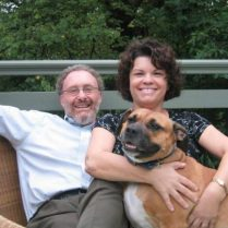 Rev. Dr. Jill Ulrici, Covenant Presbyterian Church's associate pastor, with husband Deryck Durston and their dog Honey in a photo from the church website.