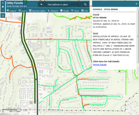 A detail of Sandy Springs' new utility work map displaying permit information about Google Fiber installation along Windsor Parkway.