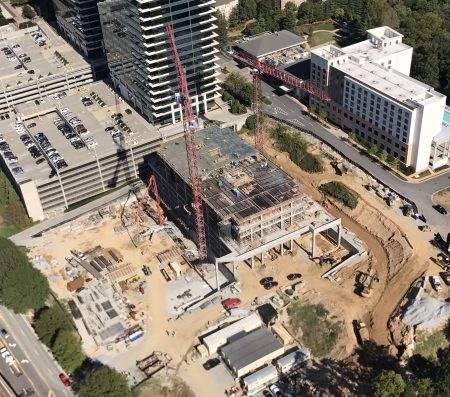 The 1291 Lake Hearn Drive construction site as seen from the CBS 46 news helicopter.