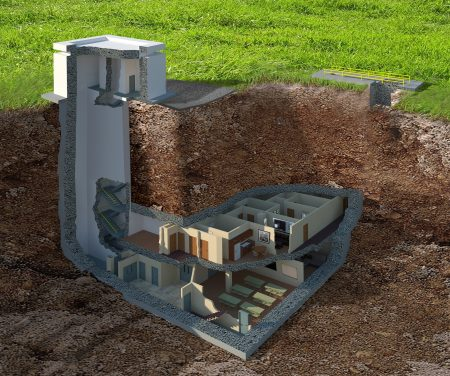 A cross-section illustration of the nuclear war survival bunker for sale in Tifton, Ga.