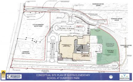 Conceptual plans for new Austin Elementary School at Dunwoody Park. Click to enlarge. (City of Dunwoody)