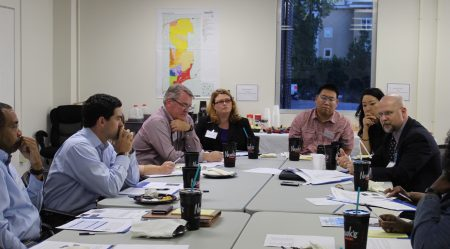 David Schaefer of the Latin American Association, far right, goes over a vision for the city's Affordable Housing Task Force with other volunteer members at its first meeting Oct. 6. (Photo Dyana Bagby)