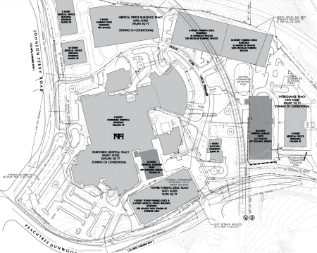A map of Northside Hospital's campus with existing buildings in light gray and the forthcoming tower (lower center) and garage (far right) in dark gray. Peachtree-Dunwoody Road is at the bottom and Johnson Ferry Road at the left.