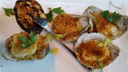 The roasted oysters.