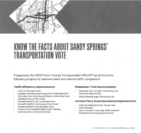 Part of the Fulton Issues Education Forum flyer about the Sandy Springs TSPLOST, with an incomplete project list and a small map, in a scanned image provided by a resident who received it.