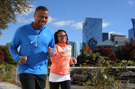 Buckhead residents Dexter and Amanda Patterson take their regular Saturday run Nov. 19 on PATH400 at Ga. 400 and Lenox Road. (Photo Phil Mosier)