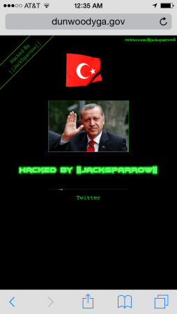 For several hours on Nov. 24 and Nov. 25, visitors to the city of Dunwoody's website were greeted with this image of Turkish President Recep Tayyip Erdoian. (Screen capture)