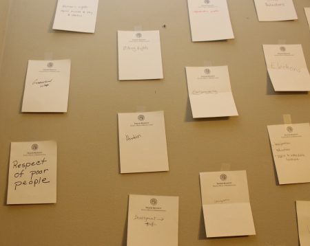 A wall in state Rep. Taylor Bennett's campaign headquarters was filled with notes of what voters wished for in this election. (Photo Dyana Bagby)