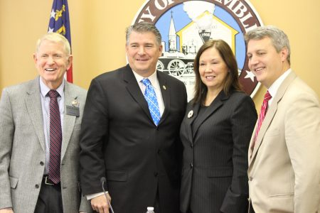 Speaking at the Nov. 17 Mayor's Breakfast sponsored by the Chamblee Chamber of Commerce were, from left, Dunwoody Mayor Denis Shortal, Chamblee Mayor Eric Clarkson, Doraville Mayor Donna Pittman and Brookhaven Mayor John Ernst. (Photo Dyana Bagby)