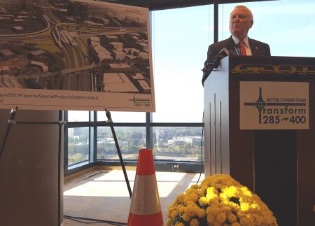 Gov. Nathan Deal speaks at the I-285/Ga. 400 groundbreaking ceremony Nov. 3 at the Concourse Center. (Photo John Ruch)
