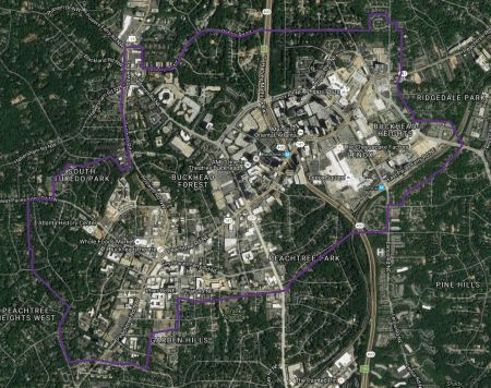A Google Earth map showing the Buckhead master plan area.
