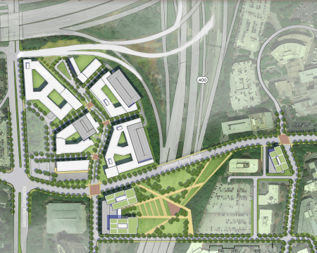 An illustration of the proposed park over Ga. 400 on Johnson Ferry Road in Sandy Springs' Pill Hill medical center area, from the draft Comprehensive Land Use Plan.