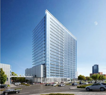 A rendering of the proposed 20-story officer tower in Perimeter Center. (Transwestern)