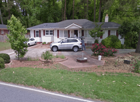 A Google Earth image of the house at 400 Hammond Drive that the city of Sandy Springs is considering purchasing.
