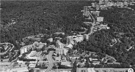A bird's-eye view of part of the Peachtree Road corridor, looking north from around Peachtree Valley Road, in a photo from the rezoning plan website.