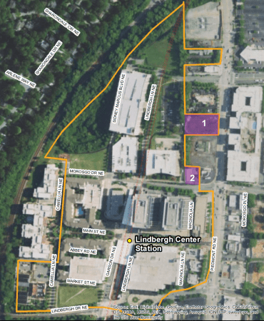 A map of MARTA's Lindbergh Center Station transit-oriented development master plan area, with the parcels currently out to bid shown in purple and numbered 1 and 2, in an image from the request for proposals document.