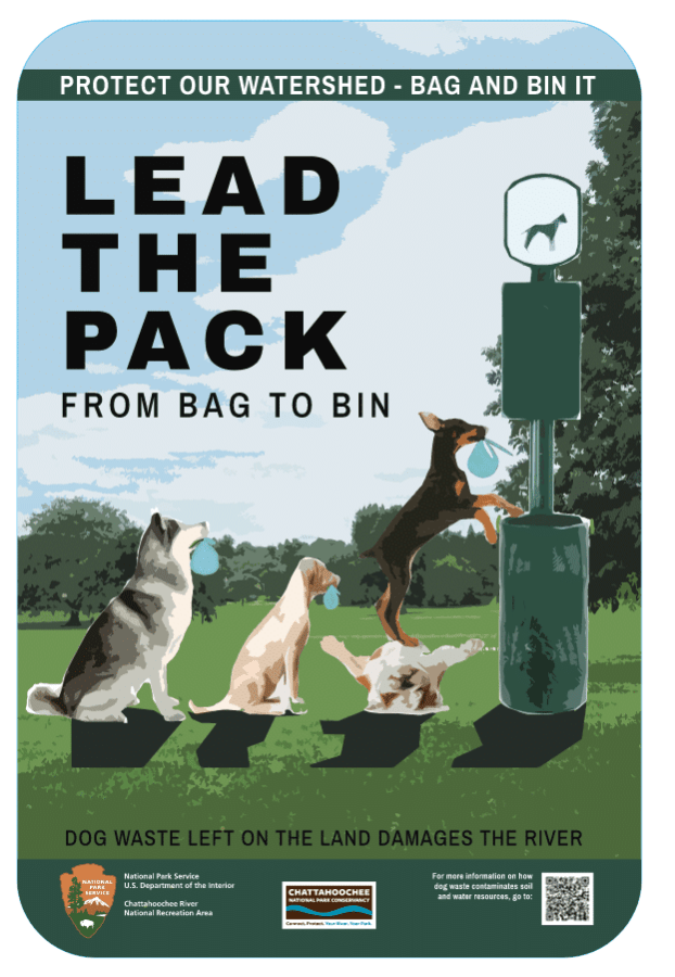 park dog waste bin campaign at Chattahoochee River Natural Recreation area