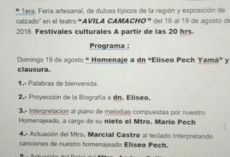 HOY GRAN HOMENAJE A DON ELÍSEO PECH, EN EL ÁVILA CAMACHO
