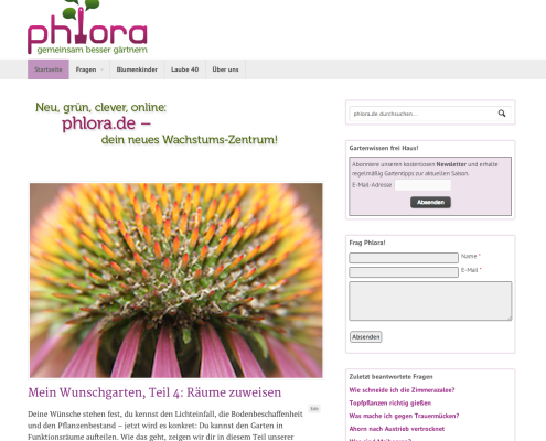 Neue Gartenwebsite phlora.de | Screenshot