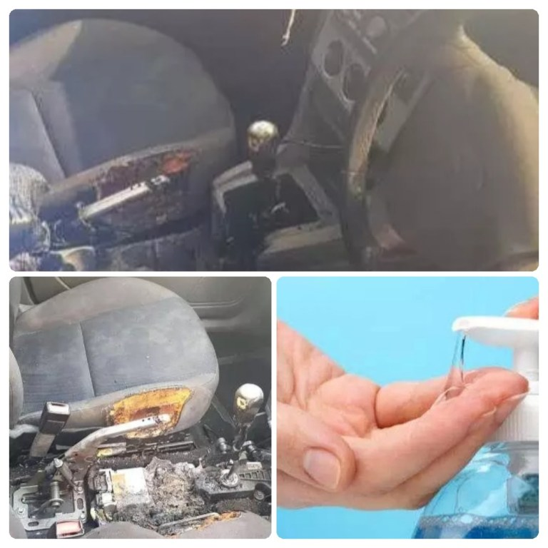 See what happened after Man left Hand Sanitizer inside his car (Photos)