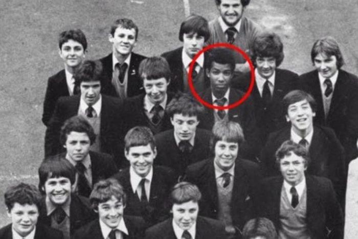 Adrian Ajao is seen at Huntley's Secondary School in Tunbridge Wells in the 1980s