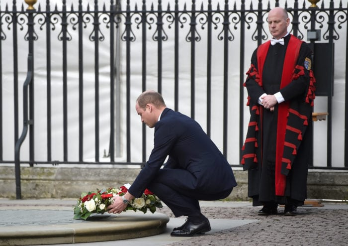 Britain's Prince William lays a wreath as he arrives at a Service of Hope at Westminster Abbey, following the attack on Westminster Bridge two weeks ago, in London, April 5, 2017 REUTERS/Hannah McKay
