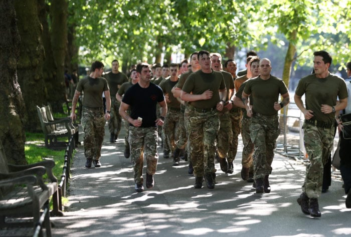 Soldiers run through St James's park in London, Britain, May 25, 2017. REUTERS/Neil Hall