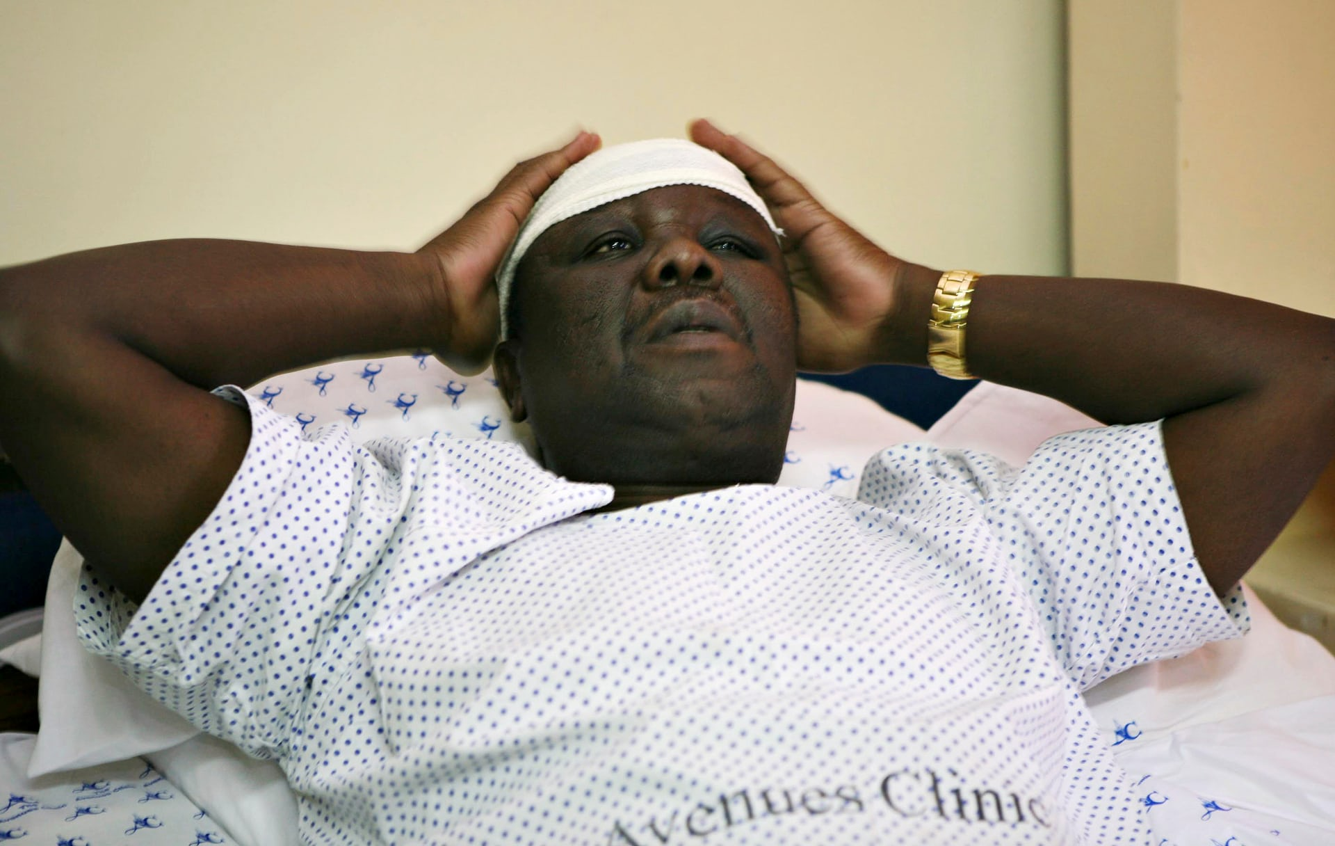 Tsvangirai in hospital after the car accident that killed his wife in March 2009. Photograph: Pool/REUTERS