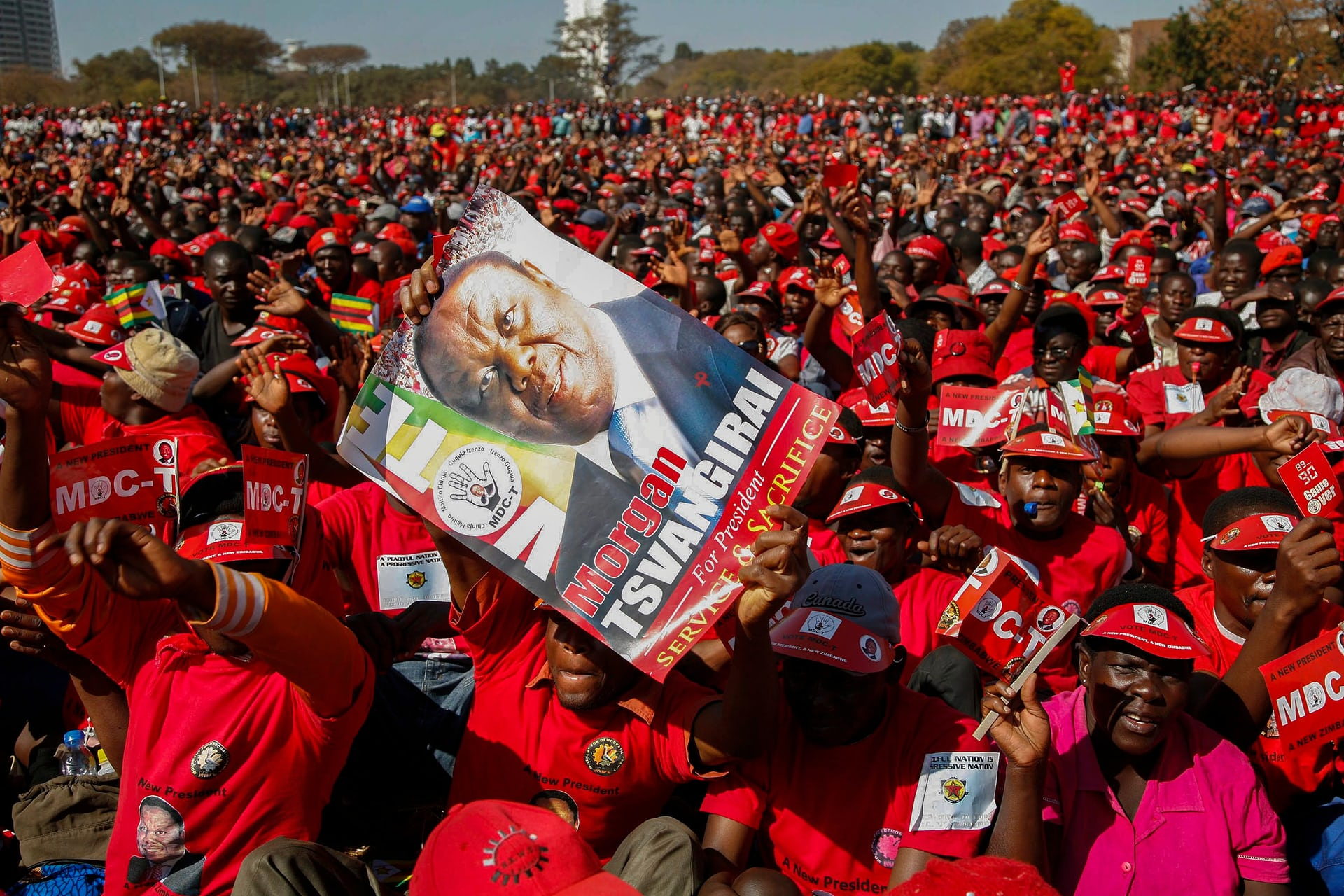 MDC supporters at an election rally in July 2013 in Harare ahead of presidential elections at the end of the month. Photograph: Aaron Ufumeli/EPA