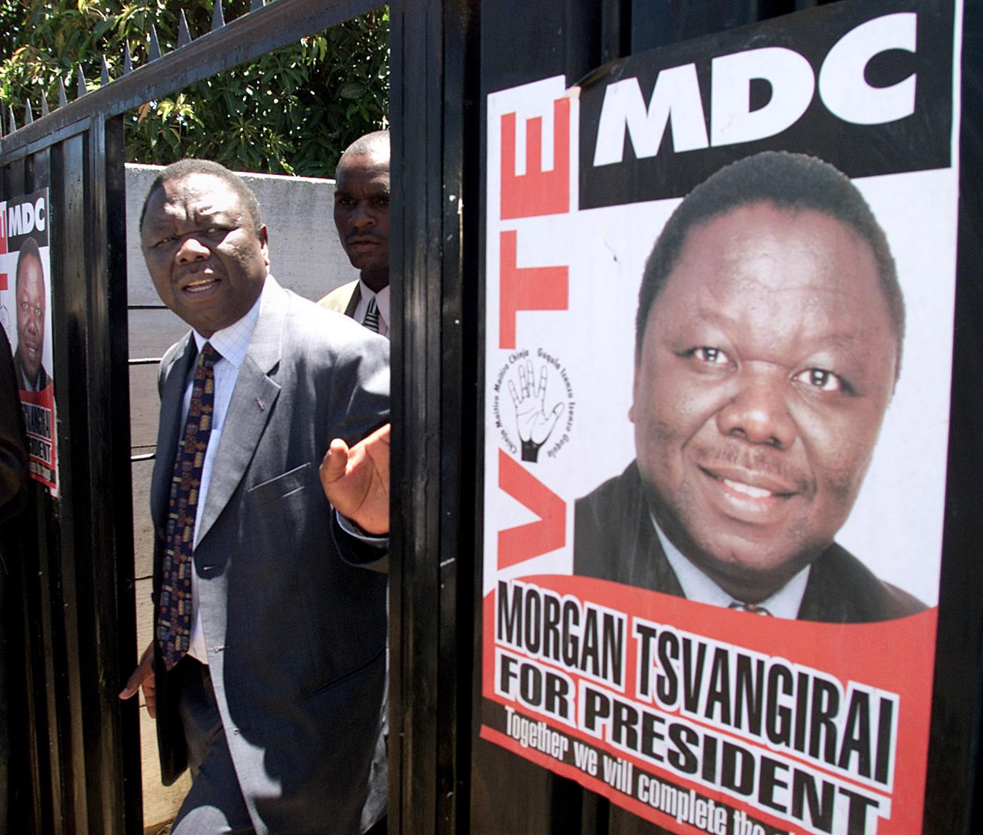 Tsvangirai leaves the house of MDC MP Tafadzwa Musekiwa in February 2002 after it was attacked by Zanu-PF supporters.