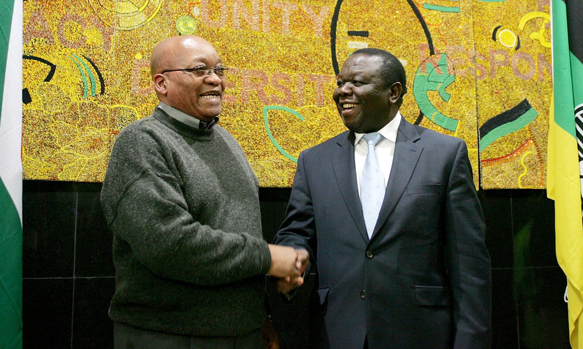 South African leader Jacob Zuma shakes hands with Tsvangirai in Johannesburg at the African National Congress Headquarters in 2009.