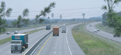 An early STAR Solutions visualization of truck-only lanes. Later mock-ups showed continuous four-lane roadways with buffered rumble strip separation of truck from car lanes. (Photo: PETER SAMUEL/TOLLROADSnews)