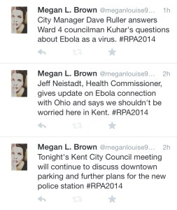 Tweets from Oct. 15 Kent City Council meeting.
