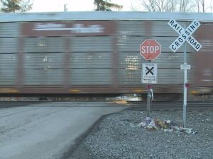 Photo of a train on the crossing after the fatal accident of Sierra Thornton. Photo courtesy of WKYC-TV.