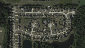 Part of the Forest Lakes subdivision. The line of houses at the bottom of the photo abutting the water represents some of those affected by the changing floodplain lines in Kent. Photo credit: GoogleMaps.com