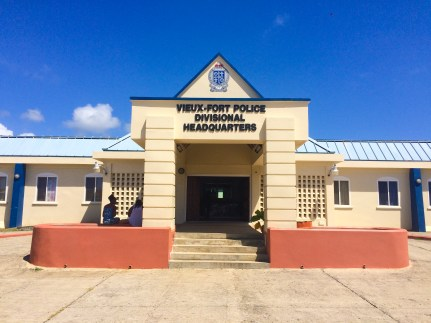 The police station in Vieux Fort, where Sahab Jamshidi spent six days in a holding cell before he was officially charged in the drowning death of four-year-old TJ Elibox.