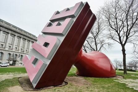 A sculpture in Willard Park