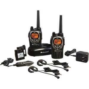 Midland GXT1000VP4 36 Mile 50 Channel FRS GMRS Two-Way Radio (Pair) (Black Silver)
